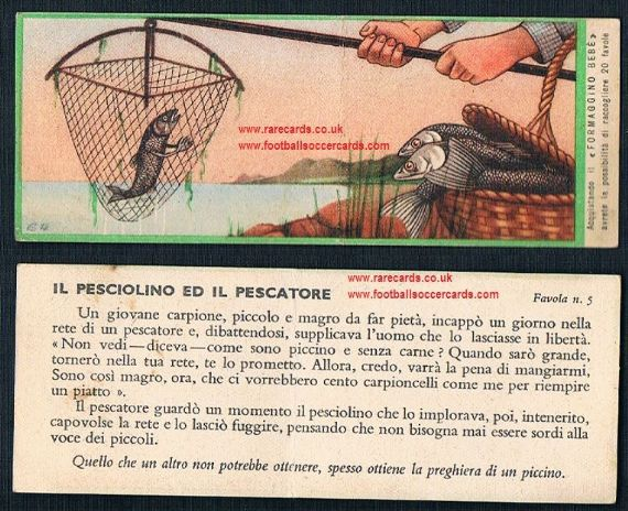 1930s Italian fishing angling trade card Formagino Bebe